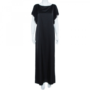 Emporio Armani Black Sateen Flutter Sleeve Maxi Dress M