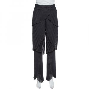 Emporio Armani Black Plisse Layered Pants S