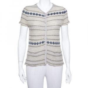 Emporio Armani Beige Lurex Knit Button Front Short Sleeve Top L