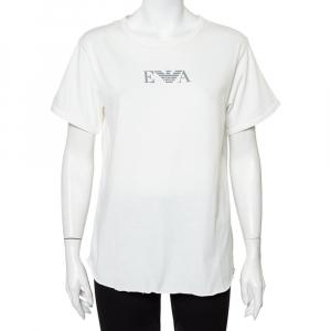 Emporio Armani White Cotton Logo Printed Crewneck T-Shirt L - used