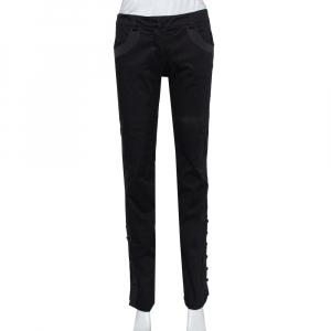 Emporio Armani Black Twill Side Trim & Button Detail Trousers M