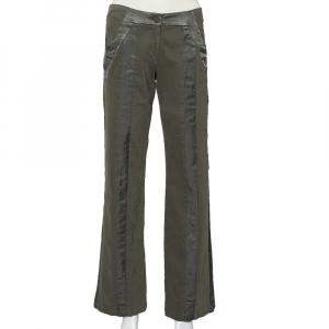 Emporio Armani Military Green Cotton Satin Trim Detail Trousers S