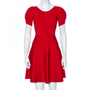 Emporio Armani Red Knit Puff Sleeve Mini Dress S