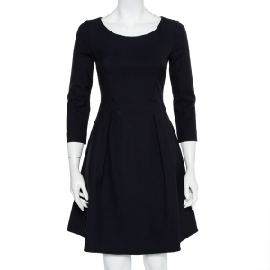 Emporio Armani Midnight Blue Crepe A Line Midi Dress S