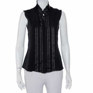 Emporio Armani Black Silk Pintuck Detail Button Front Shirt M - used