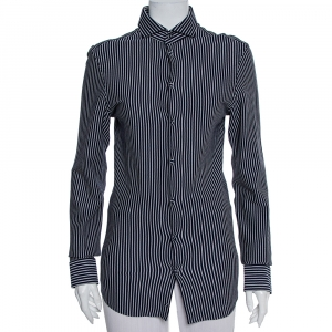 Emporio Armani Navy Blue Striped Cotton Knit Button Front Shirt S - used