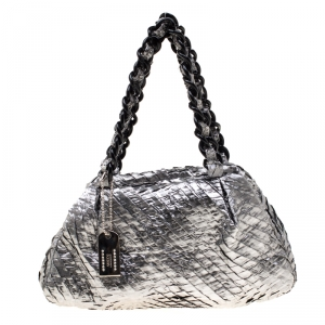 Armani Collezioni Silver Coated Nylon Chain Satchel