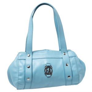 Emporio Armani Light Blue Leather Logo Bowler Bag
