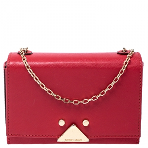 Emporio Armani Red Leather Flap Crossbody Bag
