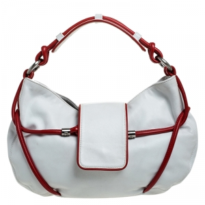 Emporio Armani White/Red Leather Bow Hobo