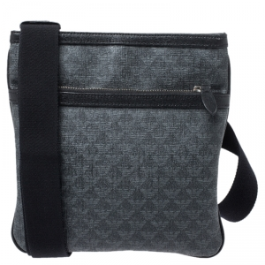 Emporio Armani Grey/Black Coated Canvas Messenger Bag