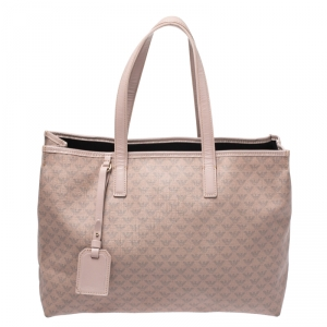 Emporio Armani Beige Monogram Coated Canvas Tote