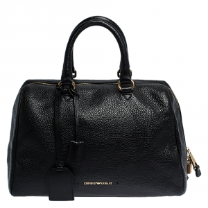 Emporio Armani Black Leather Dome Satchel