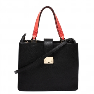 Emporio Armani Black/Red Leather Tote