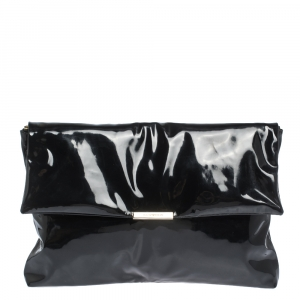 Emporio Armani Black Patent Leather Oversized Clutch