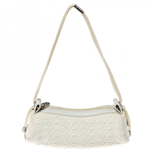 Emporio Armani White Quilted Rubber and Leather Pochette