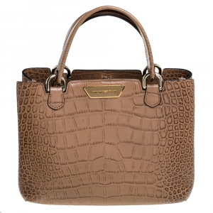 Emporio Armani Beige Croc Embossed Leather Tote