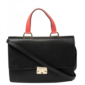 Emporio Armani Black Leather And Croc Embossed Leather Pushlock Flap Top Handle