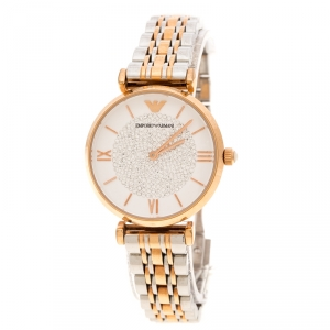 Emporio Armani White Crystal Two Tone Stainless Steel AR1926 Women's Wristwatch 32MM
