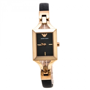 Emporio Armani Black Rose Gold Plated Stainless Steel Classic AR7373 Women's Wristwatch 20 mm