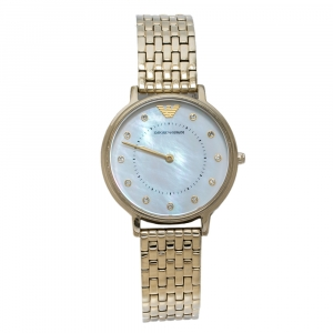 Emporio Armani Mother Of Pearl Yellow Gold Tone Stainless Steel AR11007 Women's Wristwatch 32 mm