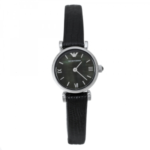 Emporio Armani Black Mother Of Pearl Stainless Steel Leather Classic Retro AR1684 Women's Wristwatch 22 mm