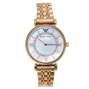 """ساعة يد نسائية امبوريو أرماني """"كلاسيك أر ايه1909"""" ستانلس ستيل ذو لون ذهبي وردي و صدف 32 مم"""