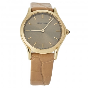 Emporio Armani Brown Gold Plated Stainless Steel & Leather Classic Women's Wristwatch 28 mm