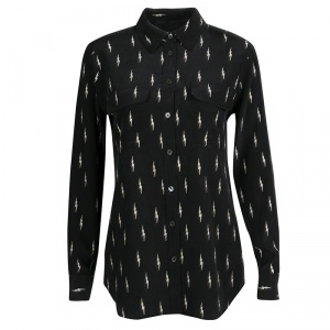 Kate Moss For Equipment Black Lightning Bolt Print Silk Slim Signature Shirt S
