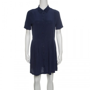 Equipment Navy Blue Washed Silk Naomi Shirt Dress S used