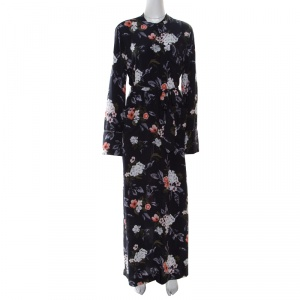 Equipment Britten Navy Blue Floral Printed Silk Belted Maxi Dress L used