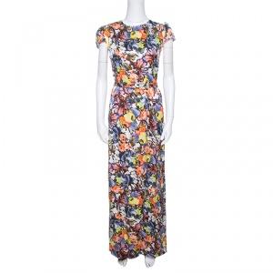Erdem Floral Printed Silk  Belted Cap Sleeve Aurelia Maxi Dress S