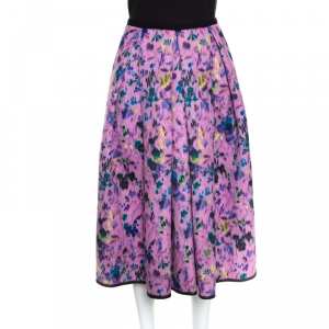 Erdem Pink Perforated Floral Print Ina Moreau Pleated Midi Skirt M