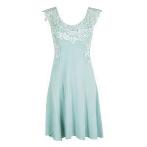 Ermanno Scervino Pastel Green Lace Detail Sleeveless Dress M