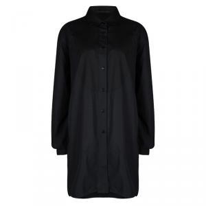 Ermanno Scervino Black Cotton Long Sleeve Button Front Shirt Dress L