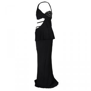 Ermanno Scervino Black Embellished Cutout Detail Backless Halter Gown M used