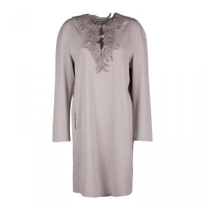 Ermanno Scervino Beige Contrast Lace Neck Trim Detail Long Sleeve Dress L - used
