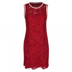 Ermanno Scervino Red Floral Lace Contrast Trim Sleeveless Dress S - used