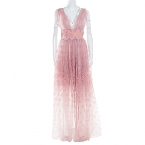 Ermanno Scervino Pale Pink Floral Lace Gathered Overlay Plunge Neck Sleeveless Dress M
