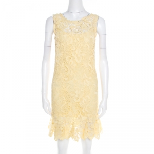 Ermanno Scervino Yellow Guipure Lace Sleeveless Flounce Dress S - used