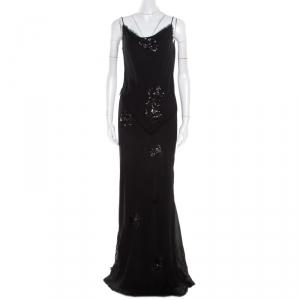Ermanno Scervino Black Crinkled Silk Frayed Trim Sequined Maxi Dress L