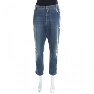Ermanno Scervino Indigo Faded Effect Floral Embellished Distressed Jeans L