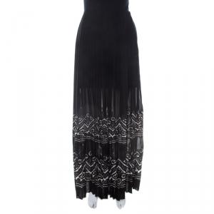 Ermanno Scervino Black Applique Border Detail Pleated Maxi Skirt M
