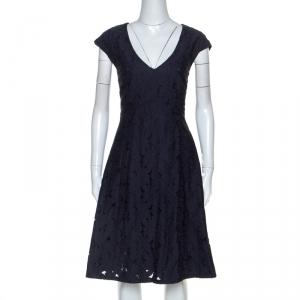 Ermanno Scervino Navy Blue Lace Knee Length Dress L - used