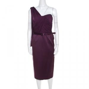 Escada Aubergine Draped Bodice Detail Asymmetric Sleeve Corsagenkleid Sheath Dress M