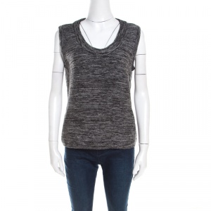 Escada Marled Grey Wool Blend Sleeveless Scoop Neck Sweater Top L -
