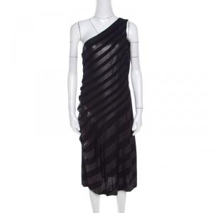 Escada Navy Blue Striped Foil Print Jersey Draped One Shoulder Eyline Dress L