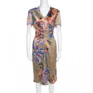 Escada Multicolor Fantasy Print Silk Inverted Pleat Front Dress M