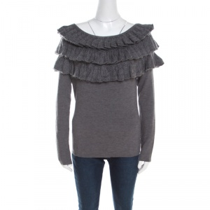 Escada Grey Wool and Mohair Ruffled Bodice Detail Long Sleeve Sweater L -