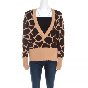 Escada Beige and Brown Giraffe Pattern Wool and Silk Knit Plunge V Neck Sweater L -
